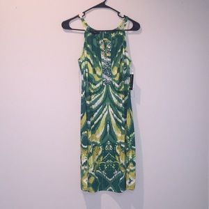 INC  green and yellow cocktail dress NWT